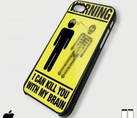 Warning I Can Kill You With My Brain Yellow for iphone 4/4s and iphone 5 case